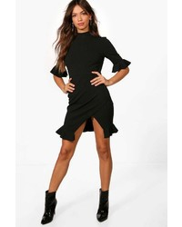 Boohoo Lucy Ruffle Hem Asymmetric Mini Dress
