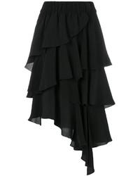 Black Ruffle Chiffon Midi Skirt