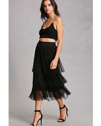 Forever 21 Tiered Semi Sheer Pleated Skirt