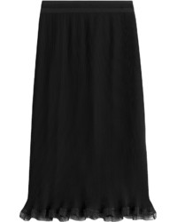 Carven Ribbed Pencil Skirt With Ruffle