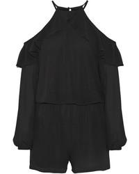 MICHAEL Michael Kors Michl Michl Kors Ruffled Cold Shoulder Chiffon Playsuit Black