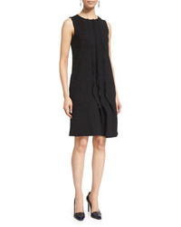 Oscar de la Renta Sleeveless Ruffle Front Shift Dress Black