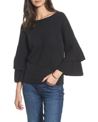 Black Ruffle Crew-neck Sweater