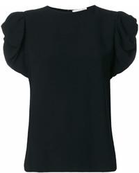 Black Ruffle Crew-neck T-shirt
