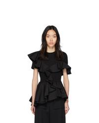 Alexander McQueen Black Ruffle T Shirt