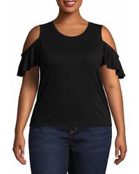 Arizona Cold Shoulder Ruffle Knit T Shirt  Juniors Plus