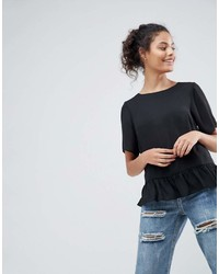 Asos Design Woven T Shirt With Ruffle Hem
