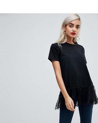 Asos Petite Petite T Shirt With Paneled Lace Ruffle Hem