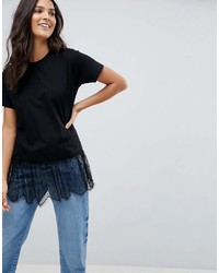Asos T Shirt With Paneled Lace Ruffle Hem