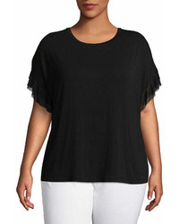 Worthington Worthington Ruffled Mesh Sleeve Tee Plus
