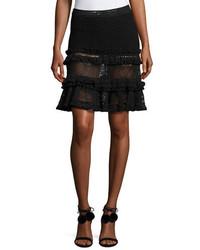 JONATHAN SIMKHAI Ruffle Crochet Tiered Mini Skirt Black