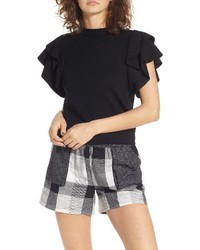 Moon River Ruffle Sleeve Crop Top