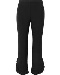 Prada Cropped Ruffled Crepe Straight Leg Pants