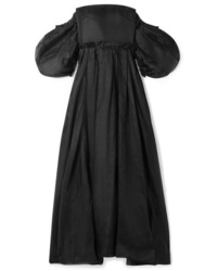 Loewe Leather And Med Off The Shoulder Cotton Organza Gown