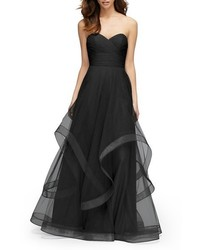 Watters florian strapless horsehair ruffle tulle a line gown medium 1009976