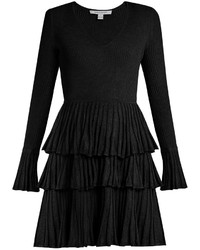 Black Ruffle Fit and Flare Dress
