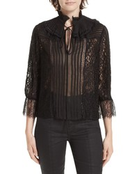 Alice + Olivia Pauletta Pleated Lace Blouse