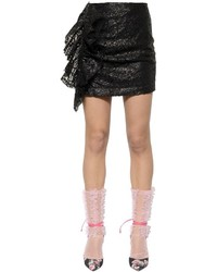 MSGM Ruffled Waxed Lace Mini Skirt