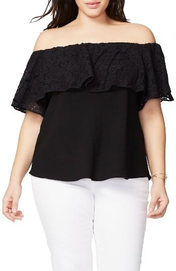 7690461e160 ... Rachel Roy Plus Size Rachel Lace Ruffle Off The Shoulder Top ...