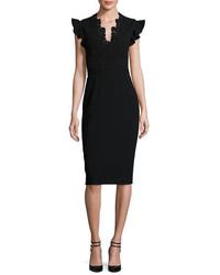 Lace trim crepe sheath dress black medium 976901