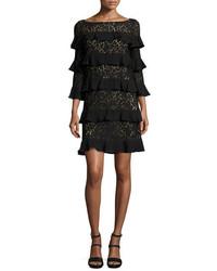Michael Kors Michl Kors Tiered 34 Sleeve Lace Dress Black