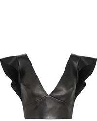 Isabel Marant Glenside Cropped Ruffled Leather Top Black