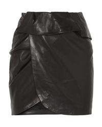 IRO Andice Ruffled Wrap Effect Leather Mini Skirt