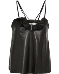 Ruffled leather camisole black medium 1152698