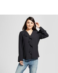 Mossimo Front Ruffle Long Sleeve Top