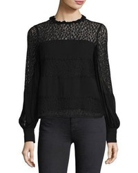 Jezebel long sleeve semi sheerchiffon blouse medium 5370887