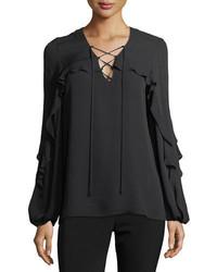 Kobi halperin corrie long sleeve lace up silk blouse medium 5370886