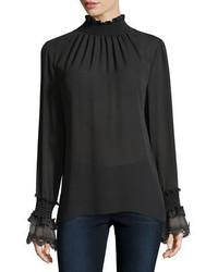 Kobi halperin sasha long sleeve mock neck silk blouse medium 5370888