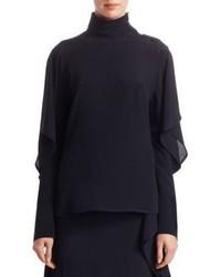 Ruffle sleeve button detail high neck blouse medium 5370883