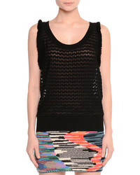 Missoni Ruffle Trim Mesh Tank Black