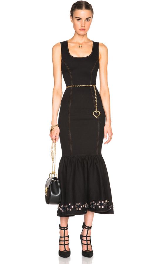 03b04b09e Alessandra Rich Stretch Denim Embellished Hem Dress, $2,067 ...