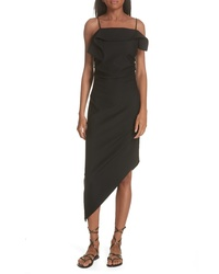 Helmut Lang Ruffle Neck Asymmetrical Dress