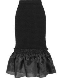 Opening Ceremony Ruffled Organza Paneled Cloqu Midi Skirt