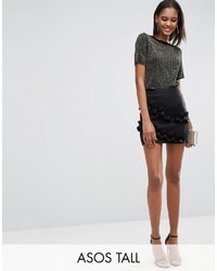 Asos Tall Asos Tall Scuba Mini Skirt With Double Ruffle Detail