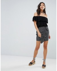 PrettyLittleThing Polka Dot Ruffle Mini Skirt