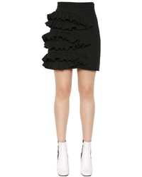 MSGM Ruffle Technical Stretch Cady Mini Skirt
