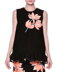 Marni Sleeveless Floral Appliqu Ruffle Hem Top Black