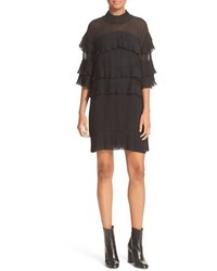 Pleated ruffle shift dress medium 1195806