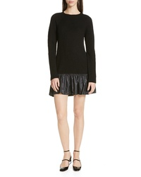 RED Valentino Ruffle Hem Drop Waist Wool Dress