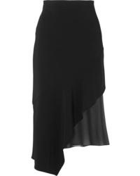 Cushnie Asymmetric Silk Med Stretch Crepe Midi Skirt