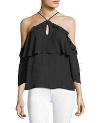 Paige Luciana Halter Off The Shoulder Ruffled Silk Blouse