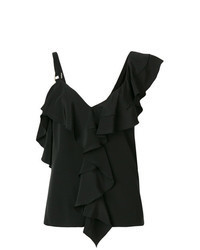 Black Ruffle Sleeveless Top