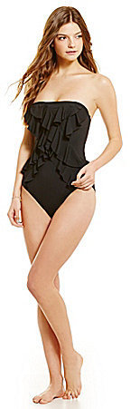 MICHAEL Michael Kors Michl Michl Kors Ruffle Front One Piece Swimsuit