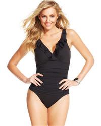 Lauren Ralph Lauren Tummy Control Underwire Ruffled One Piece Swimsuit