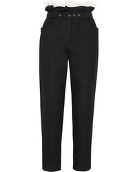Isa Arfen Ruffled Broderie Anglaise Trimmed Tapered Pants Black