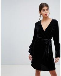 Vila Velvet Sleeve Ruffle Wrap Dress